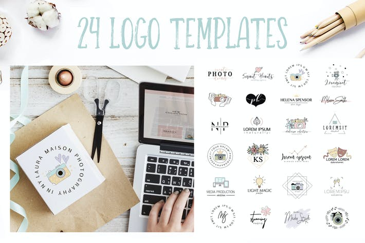 Thumbnail for 24 logo templates for Photographers