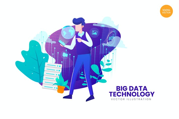 Cover Image For Big Data Technology Vector Illustration Concept