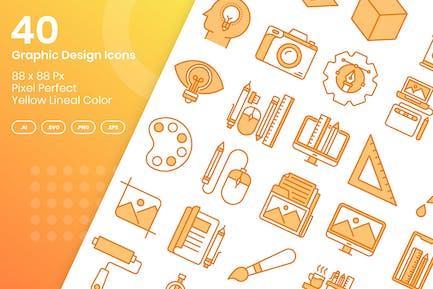 40 Grafik-Design-Icons Set - gelbe Lineale Farbe
