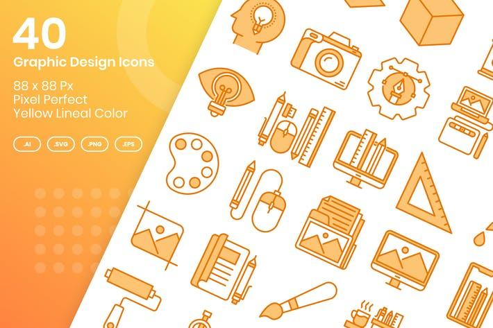 Thumbnail for 40 Graphic Design Icons Set - Yellow Lineal Color