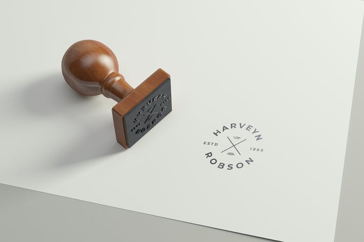 Thumbnail for Rubber Stamp Logo Mockup - Square Version