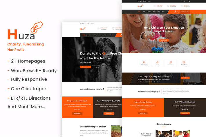 Thumbnail for Huza - Charity/Fundraising WordPress Theme