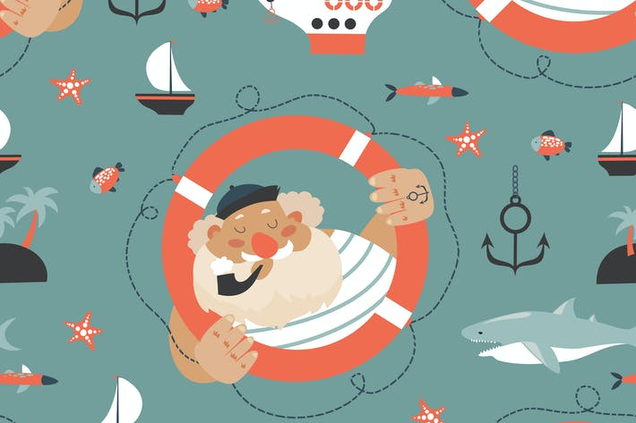 Cover Image For Seamless vector pattern with old sailor,lifebuoy