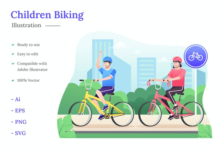 Thumbnail for Children Biking Illustration