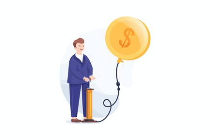 Businessman blowing balloon in the shape of coin