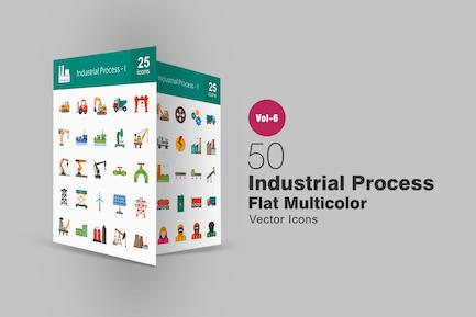 50 industrielle Prozess-flache Multicolor-Icons