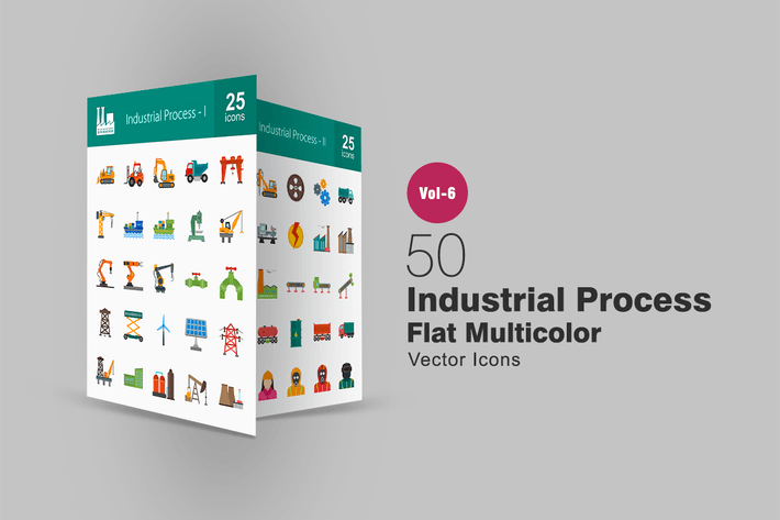 Thumbnail for 50 Industrial Process Flat Multicolor Icons