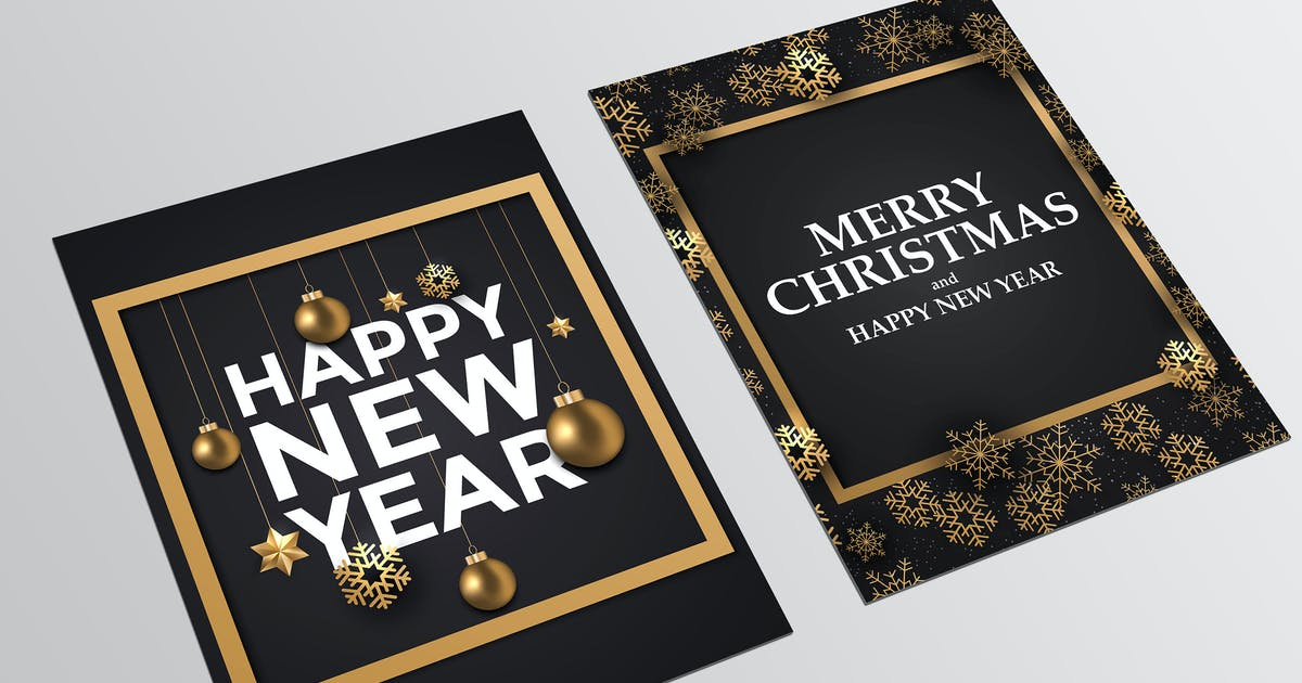 Download Holiday New Year card with golden ornaments by graphics4u