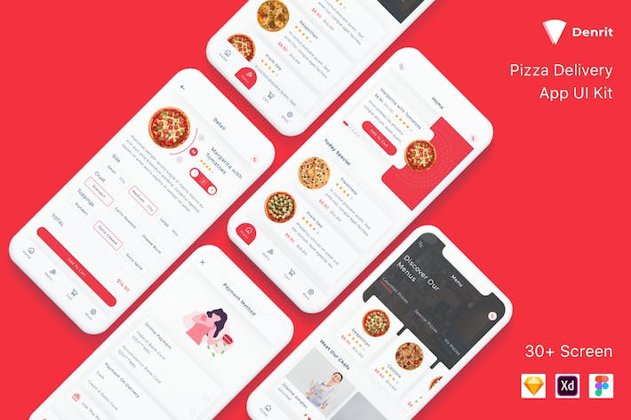 Thumbnail for Denrit - Pizza Delivery App UI Kit