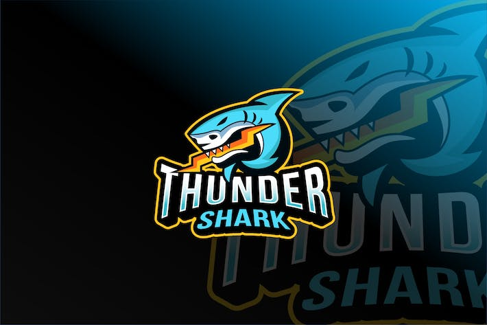 Thumbnail for Thunder Shark Esport Logo Template