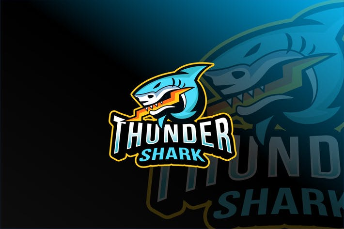Thumbnail for Thunder Shark Esport Logovorlage