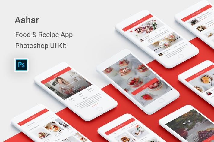 Thumbnail for Aahar - Food & Recipe UI Kit for Photoshop