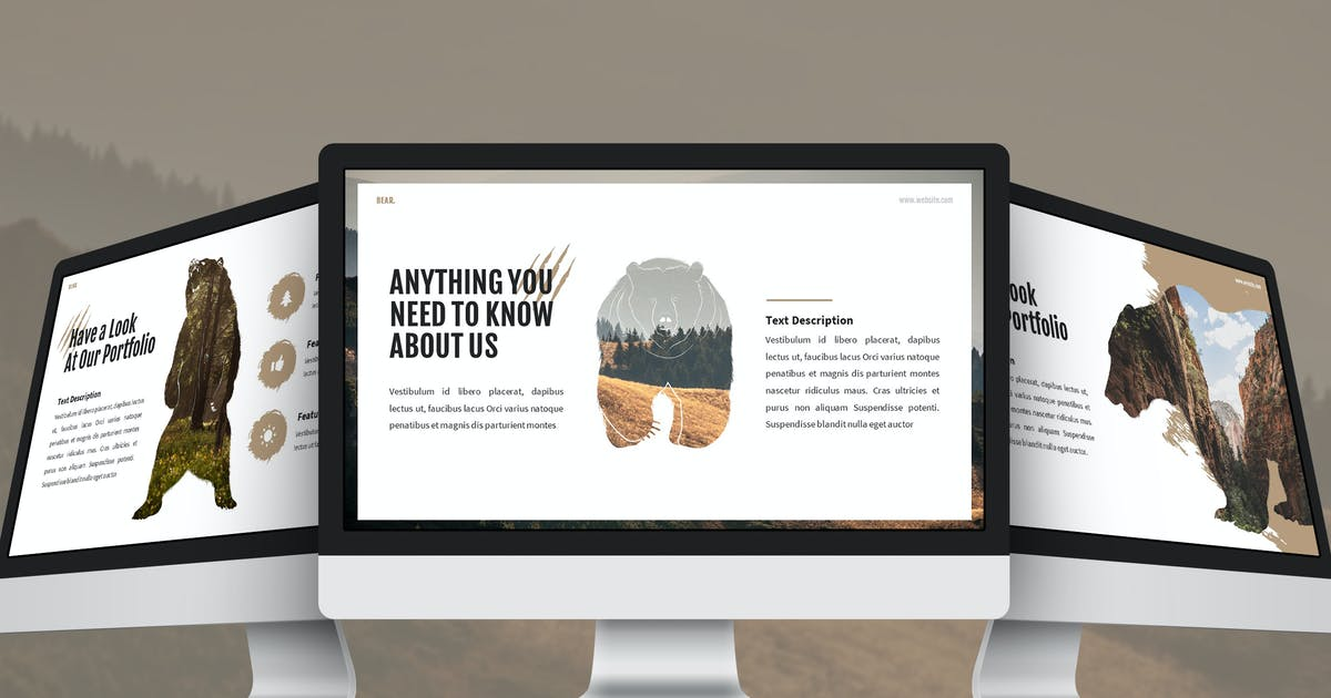 Download Bear - Wildlife Google Slides Template by SlideFactory