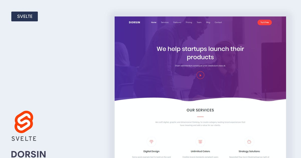 Download Dorsin - Svelte Landing Page Template by Themesbrand