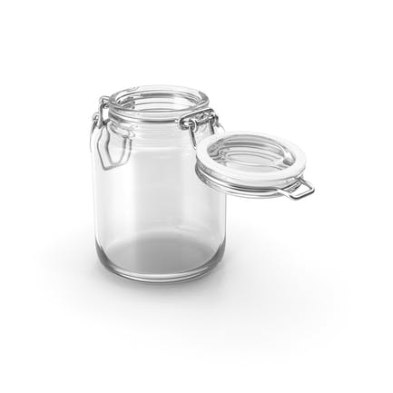 Glass Jar with Open Lid