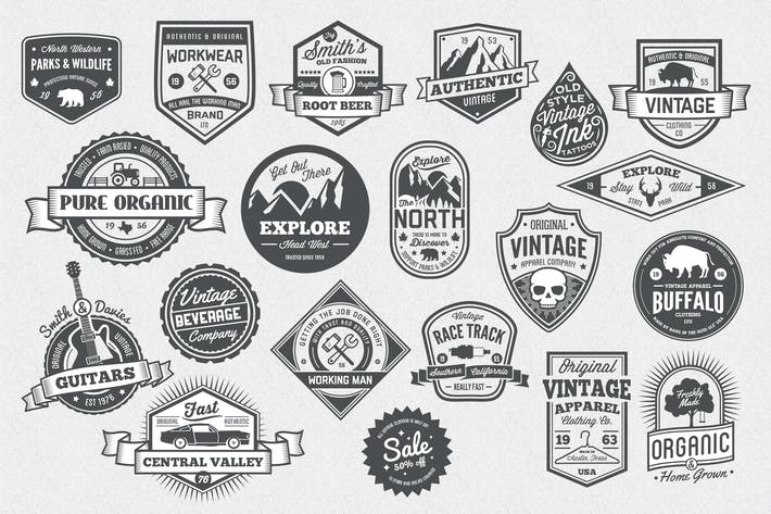 Thumbnail for 20 Vintage Style Badges and Logos