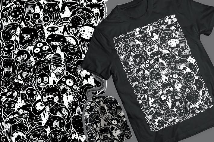 Thumbnail for Cute Monster Doodle T-Shirt & Pouch