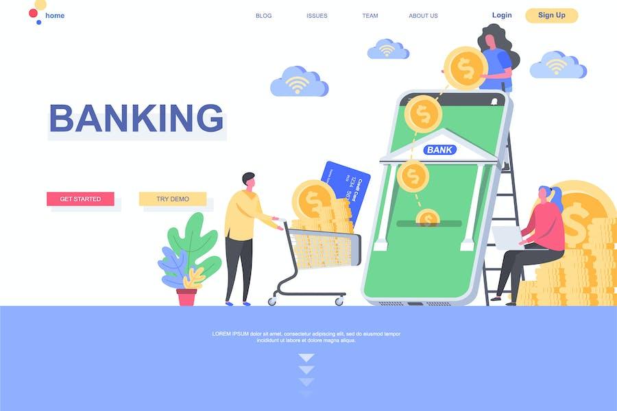 Modèle de page de destination bancaire