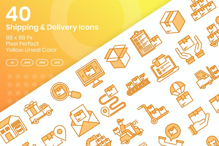 Thumbnail for 40 Shipping & Delivery Icons - Yellow Lineal Color