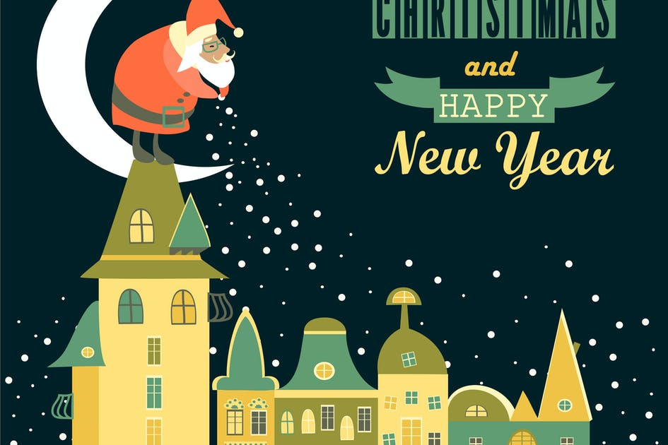 Download Santa Claus spreads snowflakes over the night city by masastarus