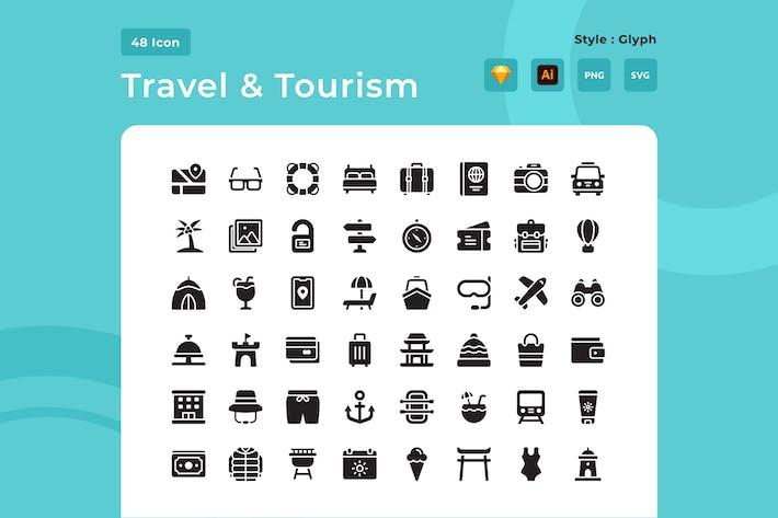 Pack d'icônes de style glyphe voyage et tourisme