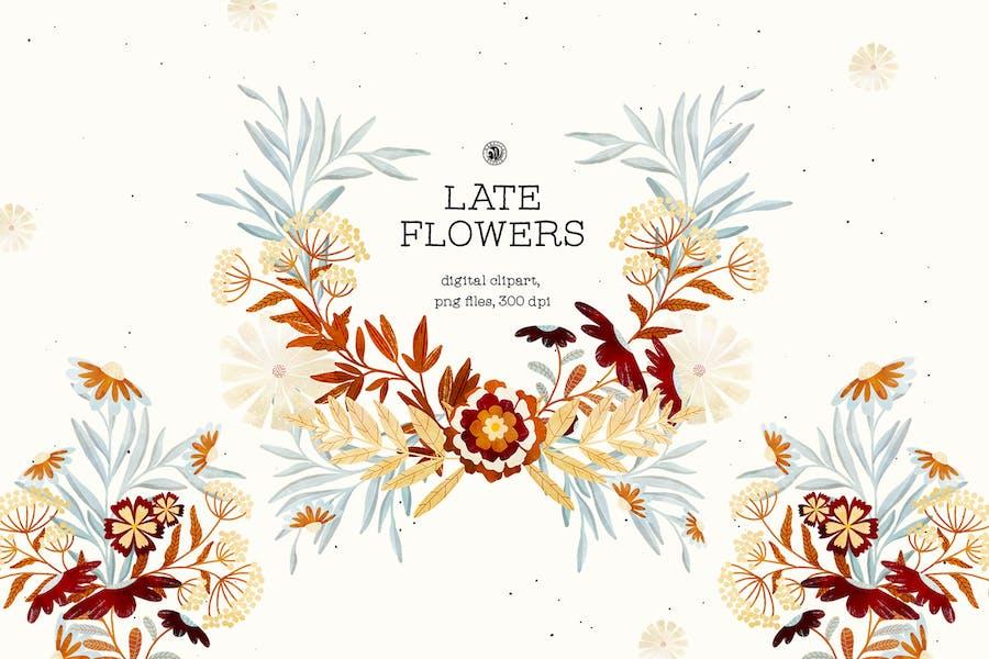 Late Flowers - digital clipart set