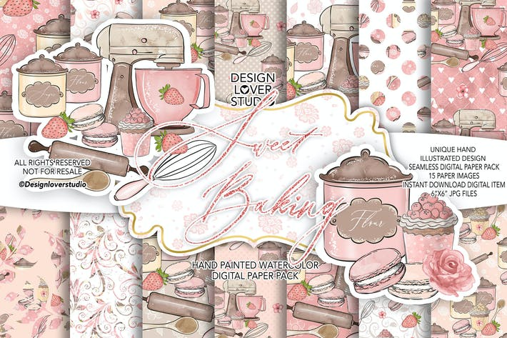 Thumbnail for Sweet Baking digital paper pack