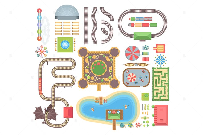 Thumbnail for Amusement park - set of vector objects
