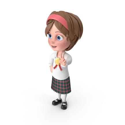 Cartoon Girl Wearing Medal