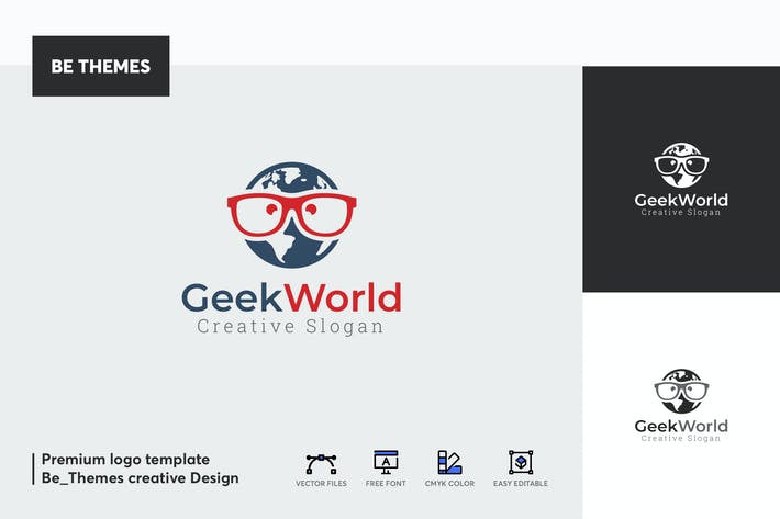 Thumbnail for Geek World Logo Template