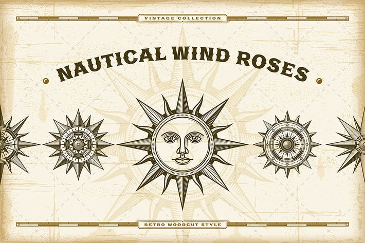 Thumbnail for Vintage Nautical Wind Roses Set