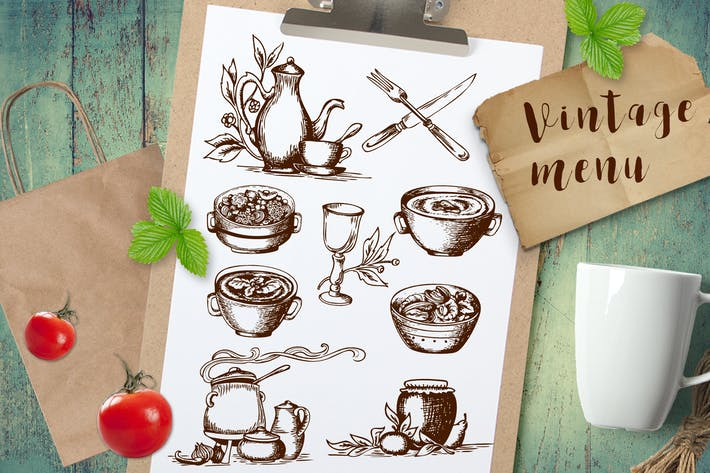 Thumbnail for Vintage Food and Tableware