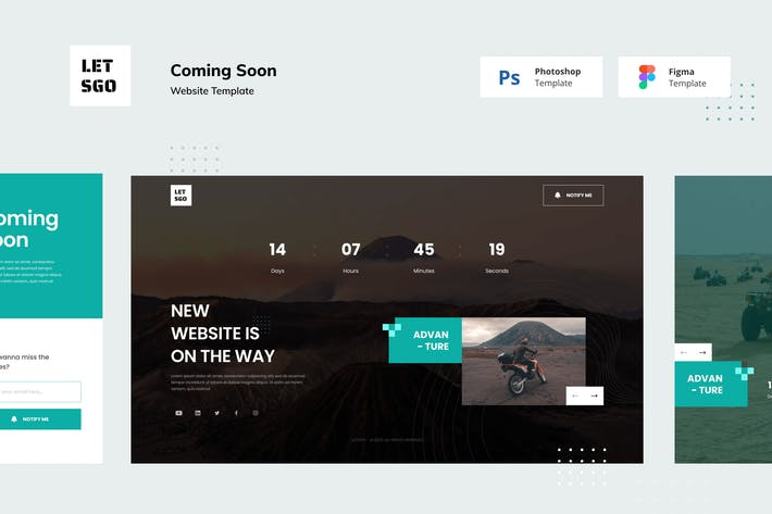Thumbnail for 8 Coming Soon Website Figma and Photoshop Template