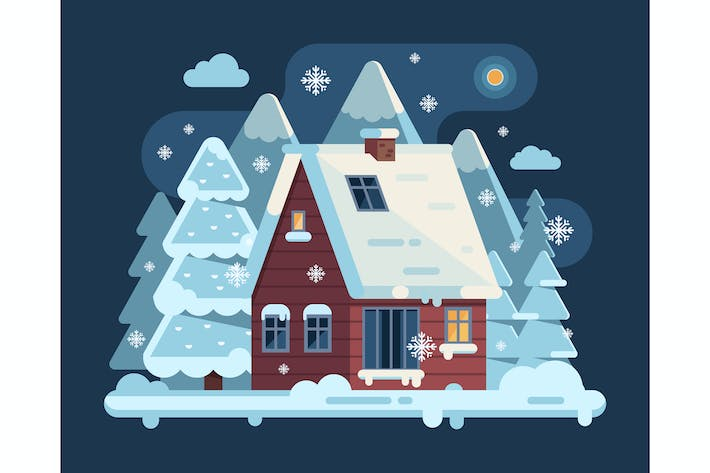 Thumbnail for Winter Cozy House Snowy Scene in Flat