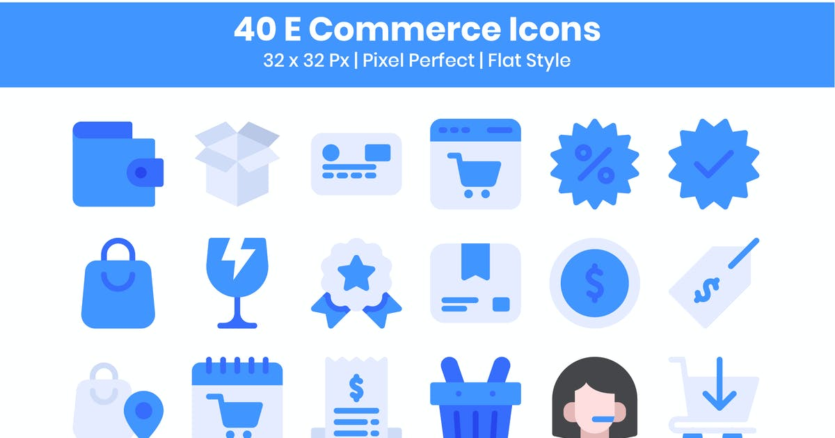 Download 40 E-Commerce Icons Set - Flat by kmgdesignid