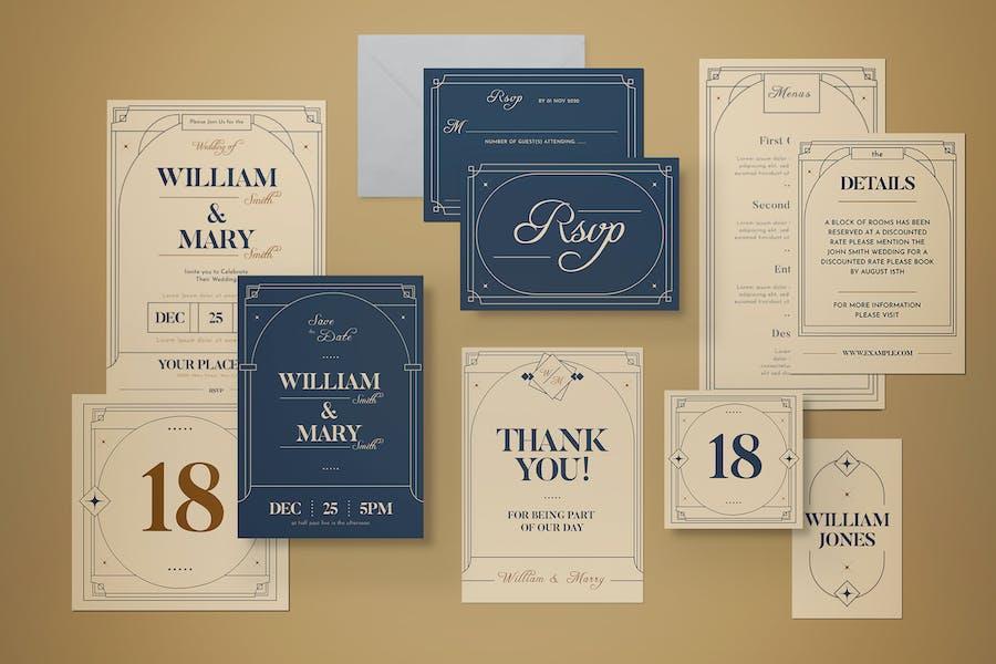 Art Deco Wedding Invitation Set