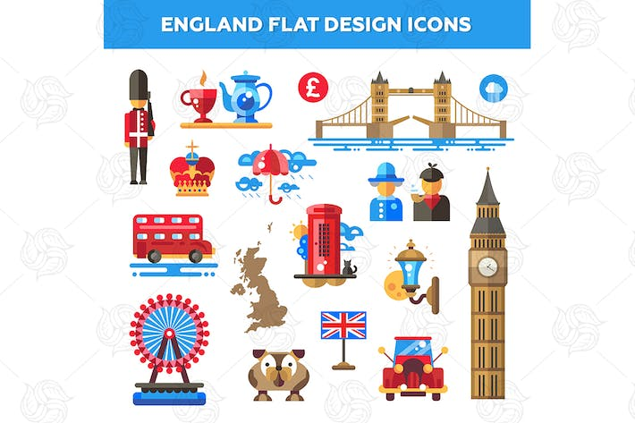 Thumbnail for England Flat Design Icons Set