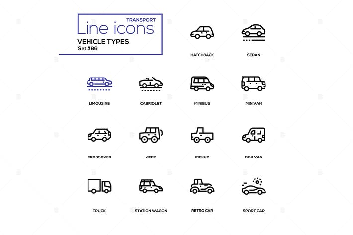 Thumbnail for Vehicle types - line design icons set