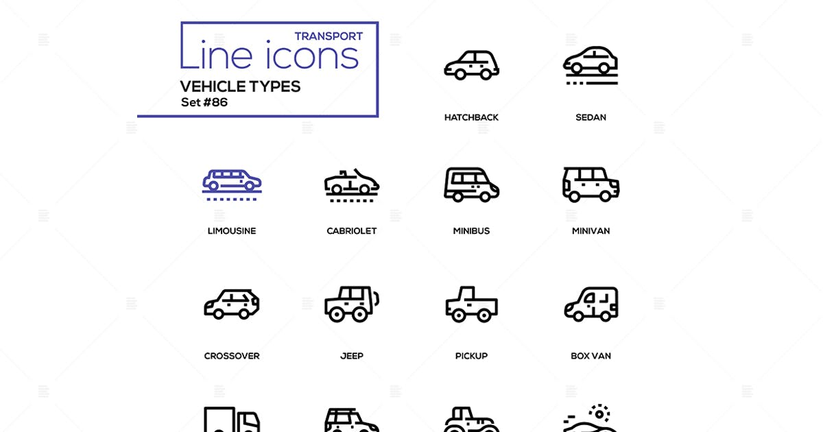 Download Vehicle types - line design icons set by BoykoPictures