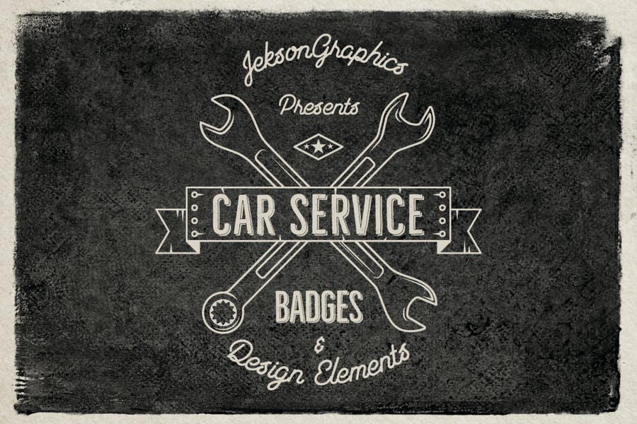 Car Service Vintage Logo / Retro Badges & Elements