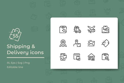 55 Shipping and Delivery Icons
