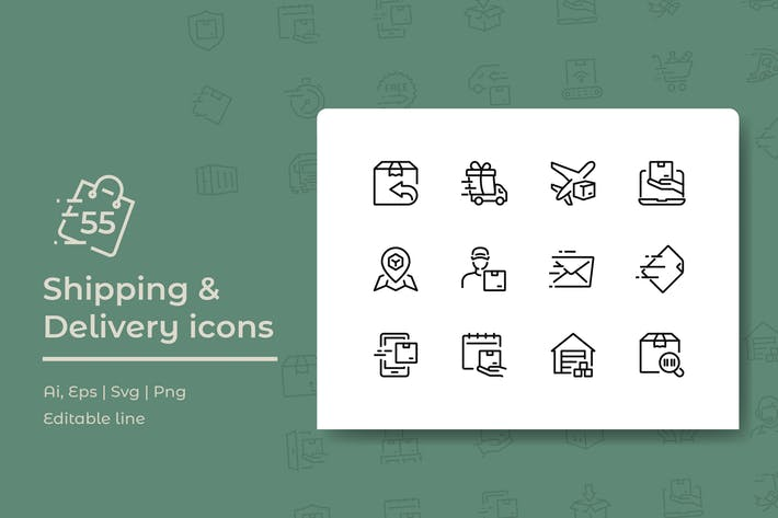 Thumbnail for 55 Shipping and Delivery Icons