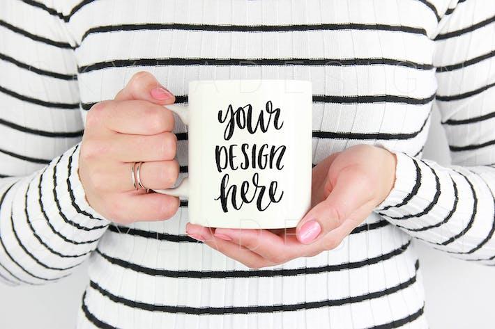 Thumbnail for White coffee mug held by woman mockup