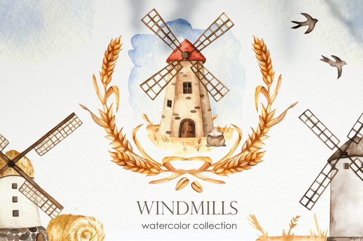 Thumbnail for Aquarell Windmühlen