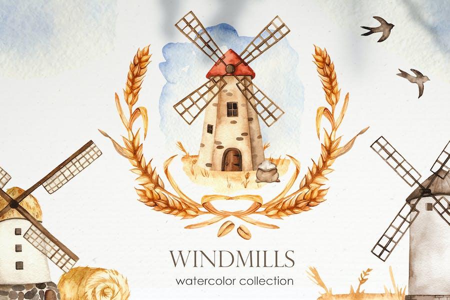 Watercolor Windmills