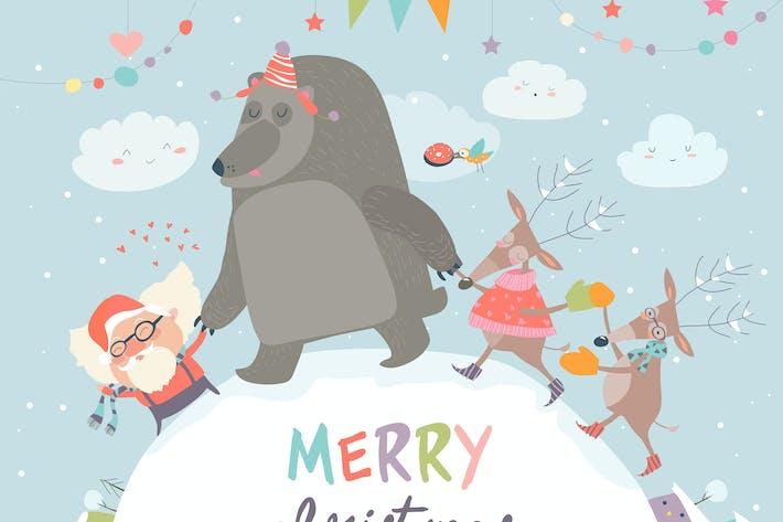 Thumbnail for Santa ,reindeers and bear celebrating Christmas