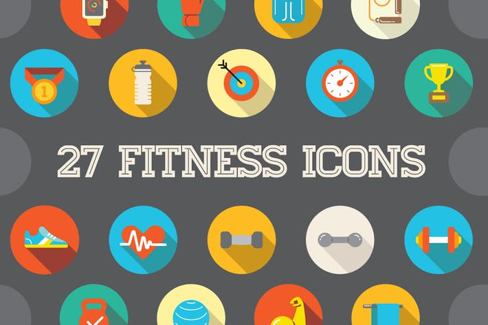 Thumbnail for 27 Vector Fitness Flat Icons Set