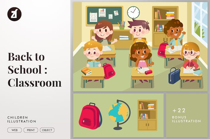 Thumbnail for Back to school classroom illustration with objects