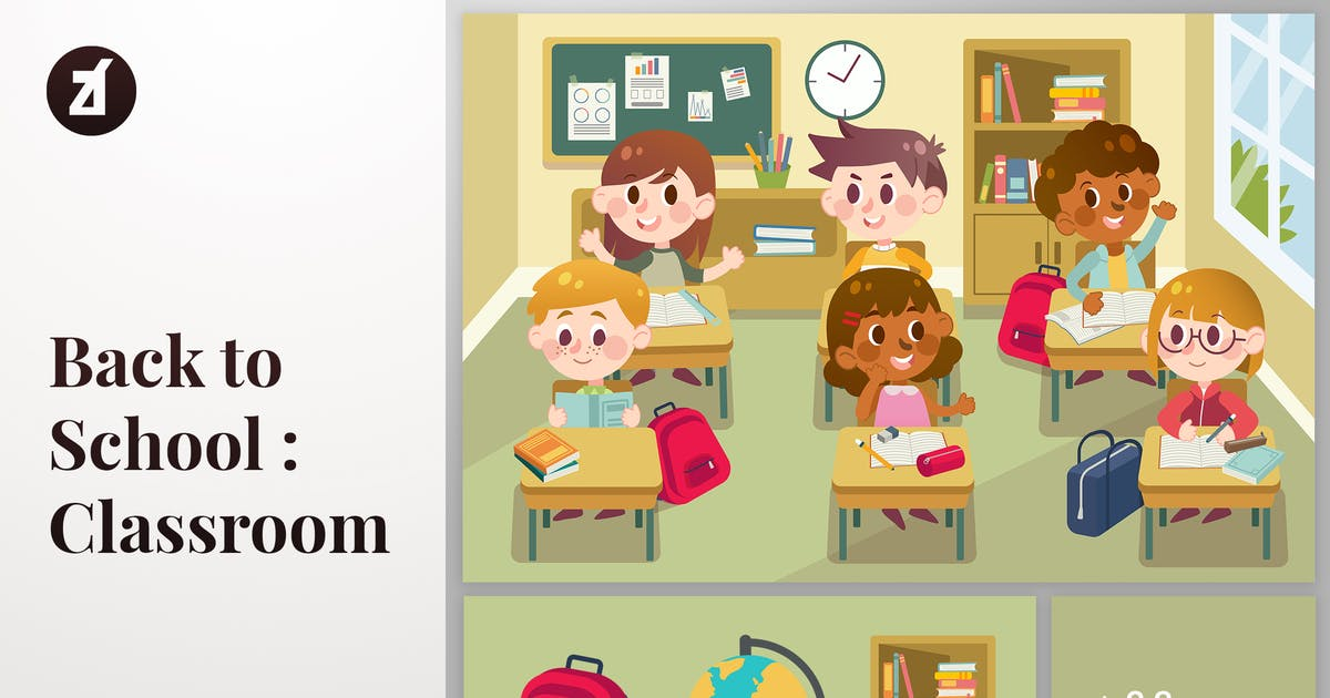 Download Back to school classroom illustration with objects by Chanut_industries