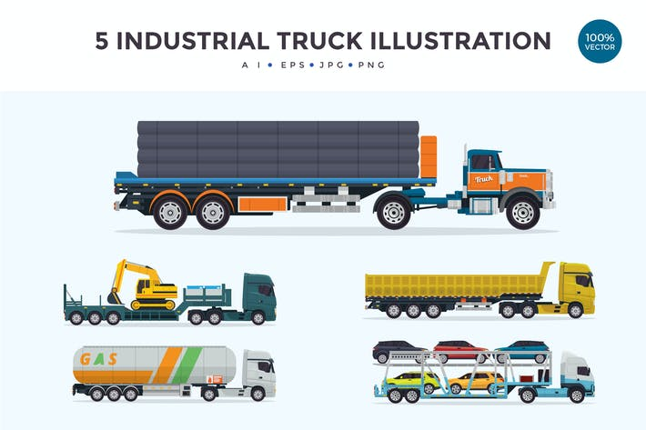 Thumbnail for 5 Industrial Trailer Truck Vector Illustration 2
